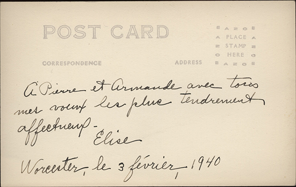Reverse side of photo identifying Elise Rocheleau with