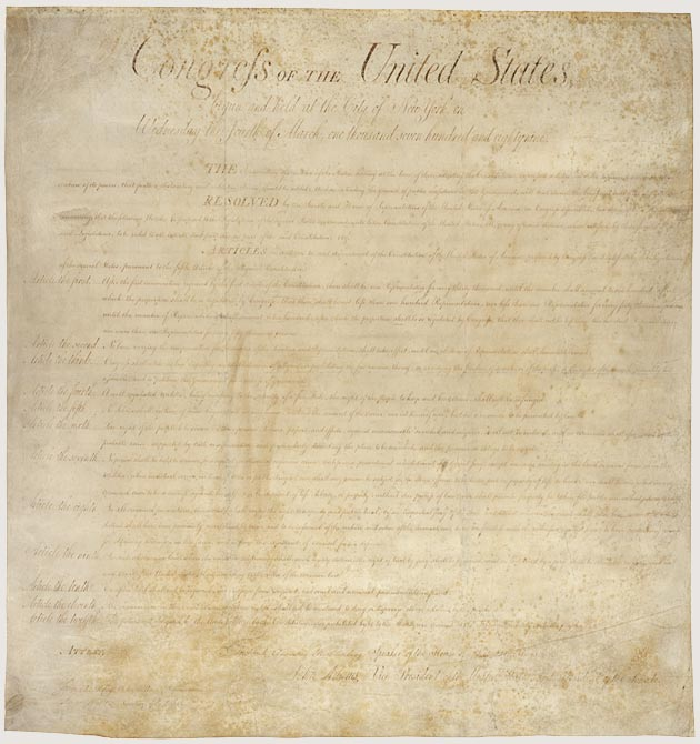 The Bill of Rights - First 10 Amendments to the US Constitution