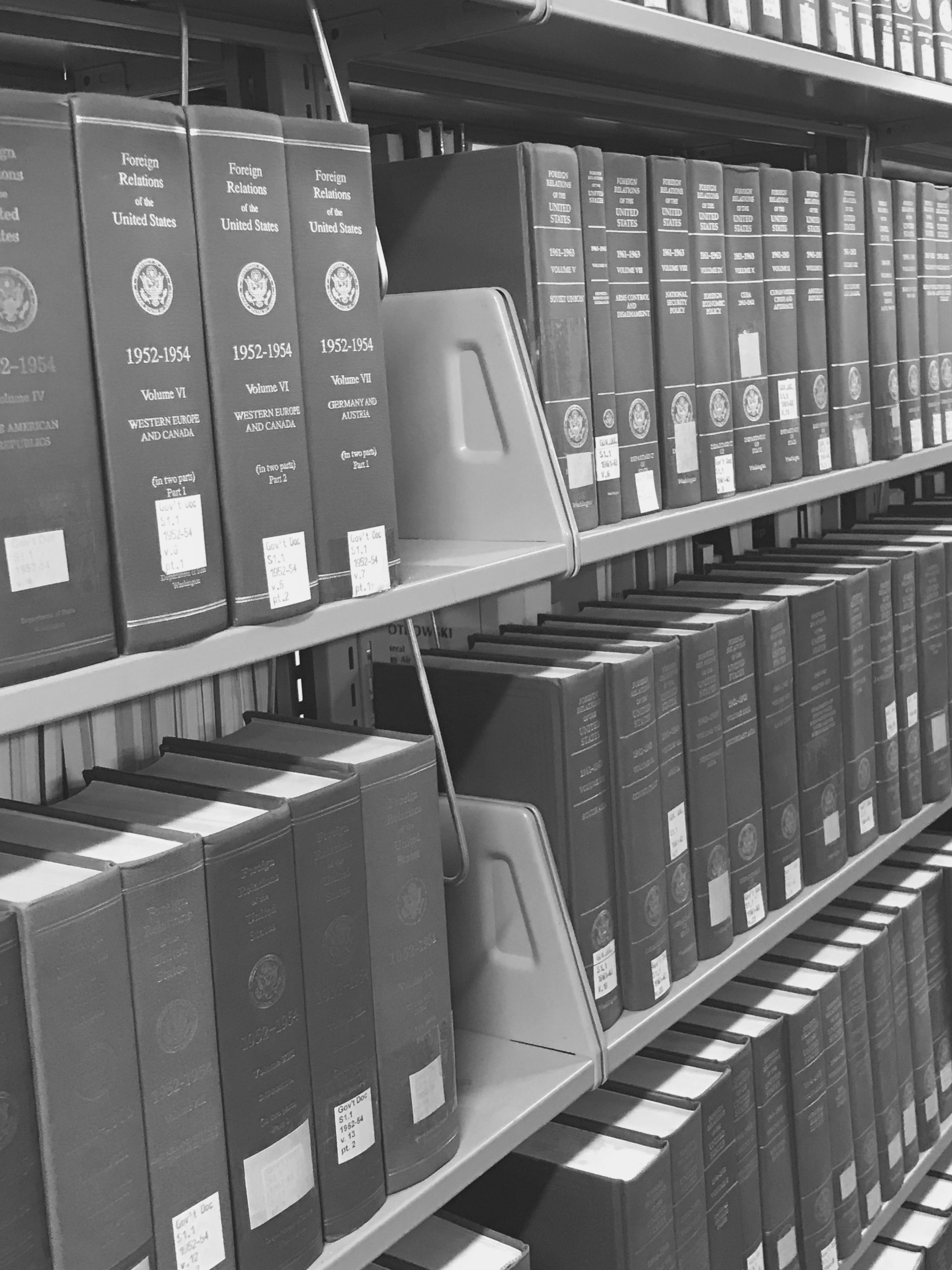 An image of a part of the Government Documents Collection at Columbus State University