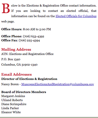 Screenshot of the contact information for the Columbus, GA election office. Image is linked to the webpage.