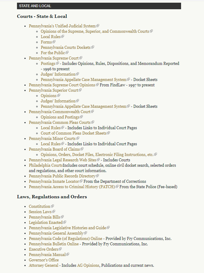 A screenshot of the Department of Justice Website showing the user the local and state level courts of Pennsylvania.