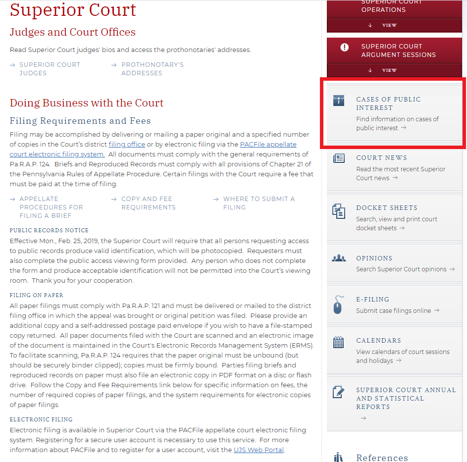A screenshot showing the user that the Pennsylvania courts homepage has a cases of public interest page.