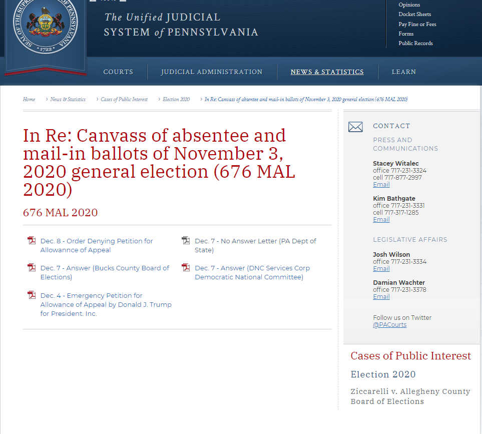 A screenshot showing the user selected one of the cases and shows links to the documents that are publically available for that case