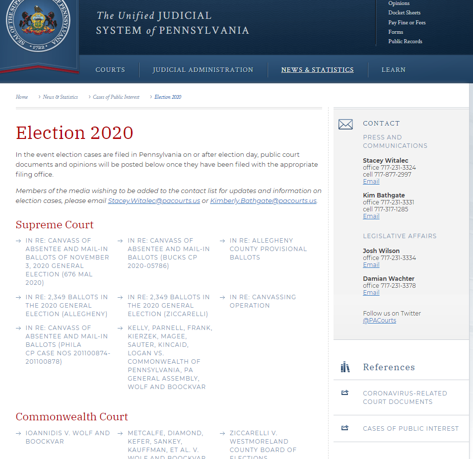 A screenshot of the Pennsylvania unified Judicial System's 2020 Election related cases at the State Superior Court and local level courts.
