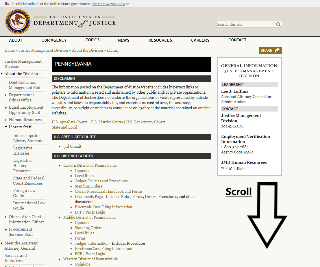 A screenshot of the list of federal and state courts in Pennsylvania.