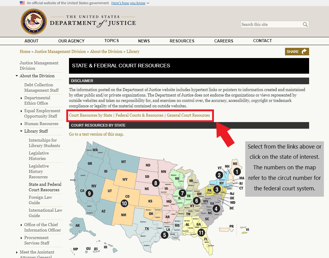 A screenshot showing the U.S. Department of Justice portal to locate federal and state level courts by state.