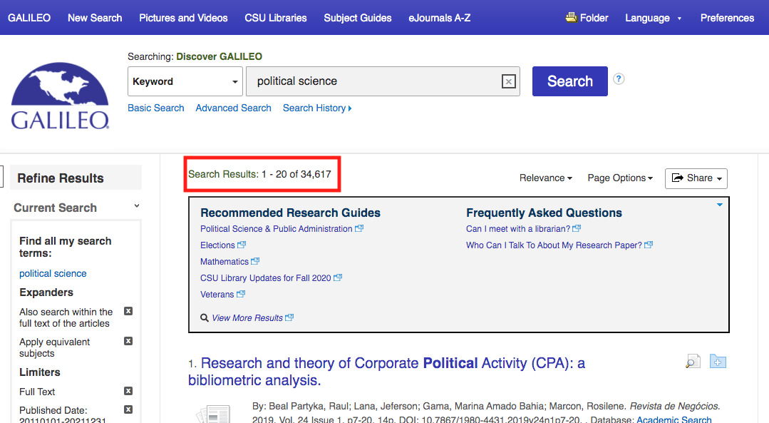 Screenshot of GALILEO search results list. Image is highlighting 34,000 search results.
