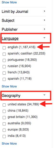 Screenshot of GALILEO limiters for Geography and Language.