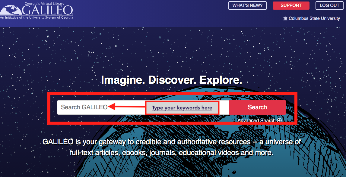 Screenshot of the GALILEO homepage showing the user where to type the keywords.