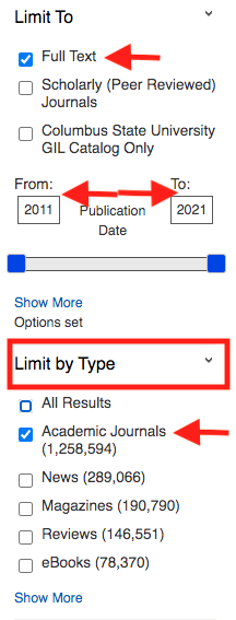 Screenshot of GALILEO search limiters. Image is showing user to click on Full-text, a ten year date range, and academic journals.