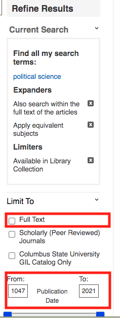 Screenshot of GALILEO search results. Image is showing user how to limit the search results by full-text and sets a ten year date range.