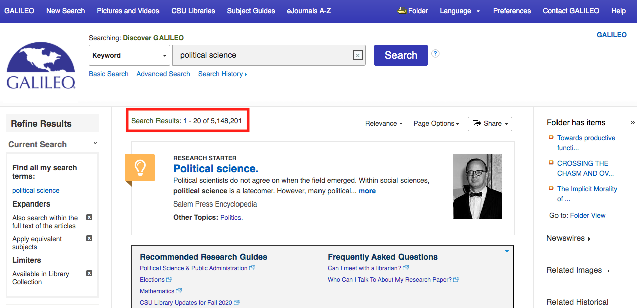 Screenshot of search results list for political science. It is highlighting there are 5-million search results.
