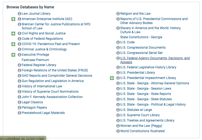 A screenshot of HeinOnline's browse by Database Name section.