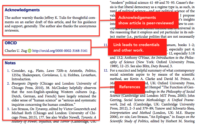 Screenshot on the elements of identifying a journal article. The acknowledgements show the article is peer-reviewed and there is a link that leads to the addition work and credentials of the author.