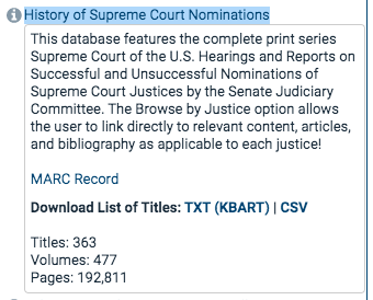 A screenshot of the collection of the History of Supreme Court Nominations collections in HeinOnline