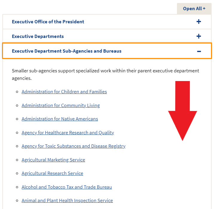 Images shows users how to scroll down to find the Executive Department Su-Agencies.
