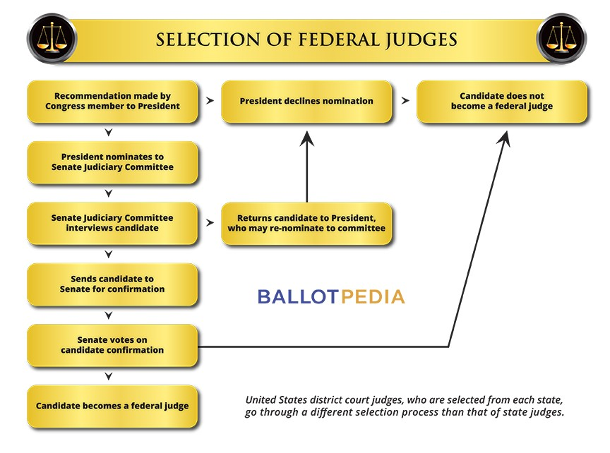 A chart illustrating how federal judges are selected. The link below the image will direct you to the alt-text description.