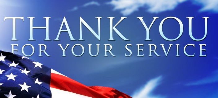 A graphic with an American flag that thanks service members for their military service.