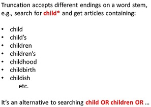 Truncation is putting an asterisk on a word stem to look for all possible endings. Child* would find words like children or childhood or childbirth or childish.