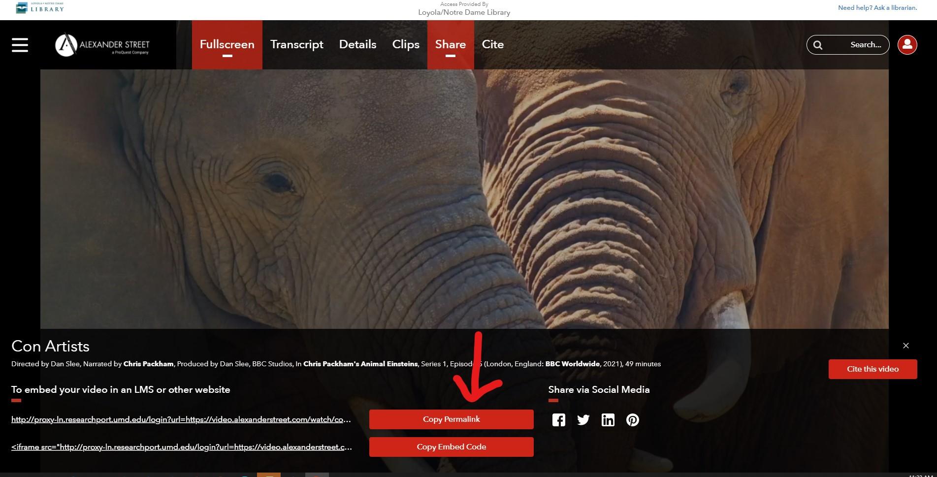 Screenshot of Academic Video Online Share menu