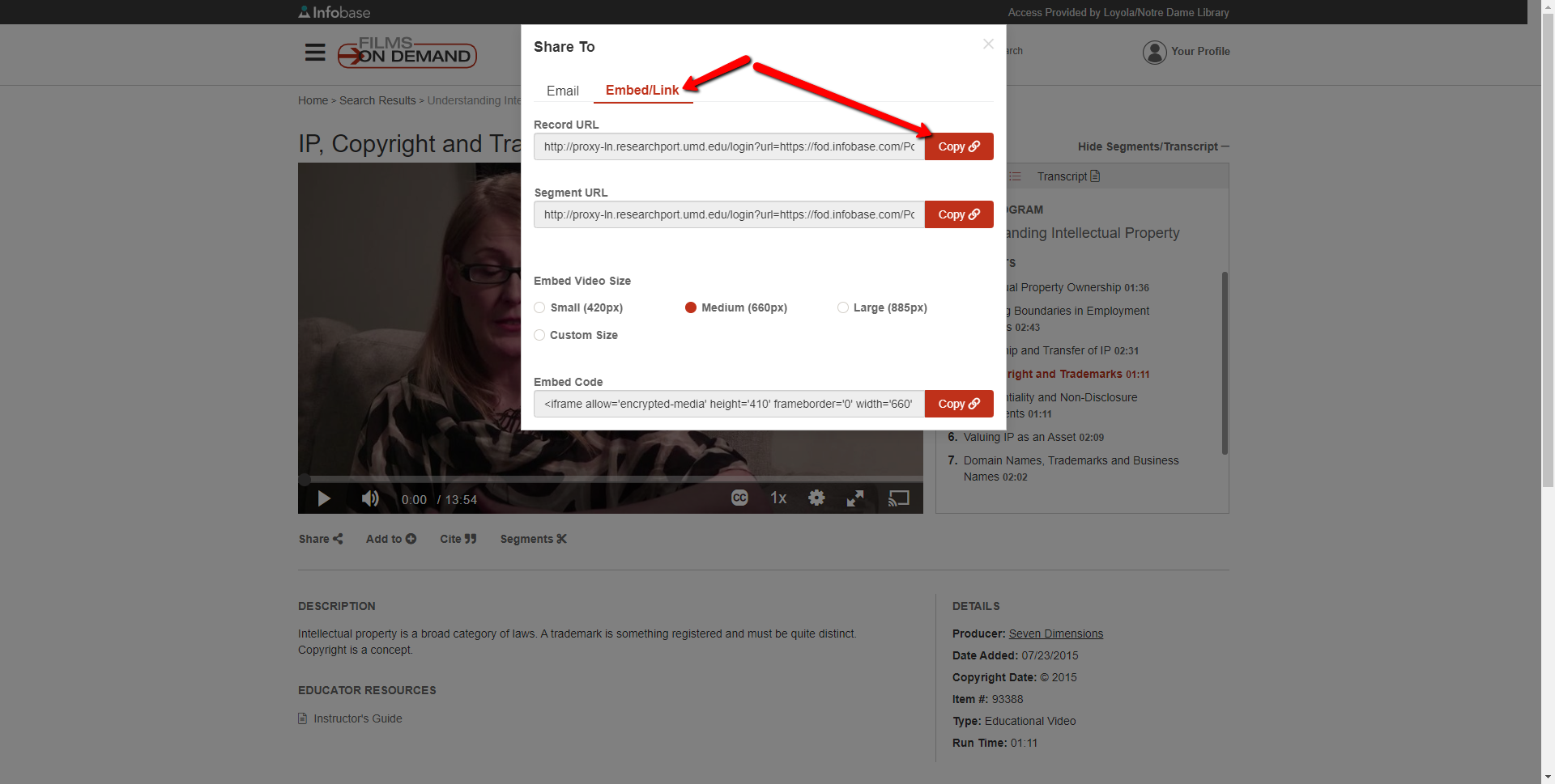 Link options for embedding Films on Demand links includes Record URL, Segement URL, and embed code.