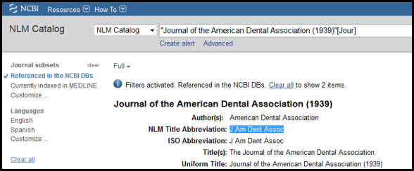 NLM Journal Abbreviations