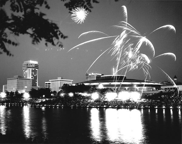 Fireworks over Arkansas River in downtown Wichita, 1986