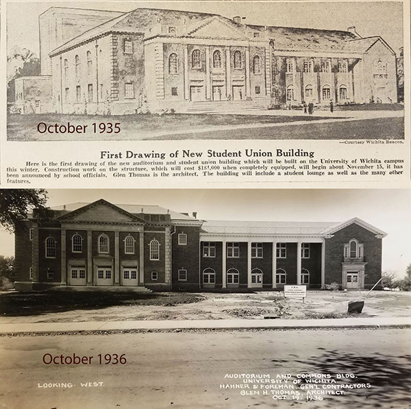 """""""New Student Union Building"""" drawing, 1935, and """"Auditorium and Commons Building"""" 1936"""