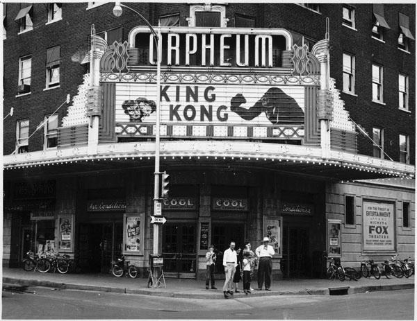 Northeast view toward Orpheum Theater, 1955