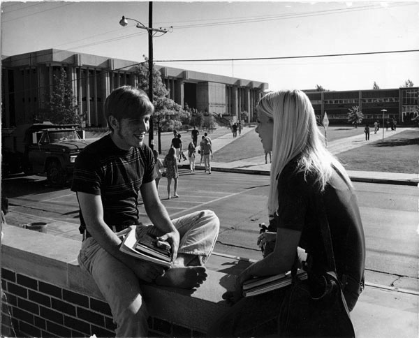 WSU students on east patio of Campus Activities Center, 1970s