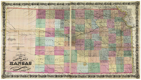 Map of Kansas from 1868