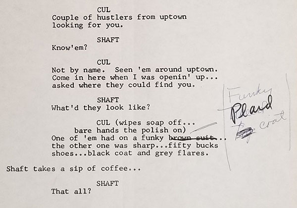 """Gordon Parks' revision of his script for the 1971 film """"Shaft"""""""