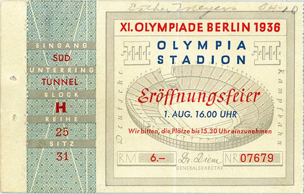 Esther Myers Wenzel's ticket to Eroffnungsfeier