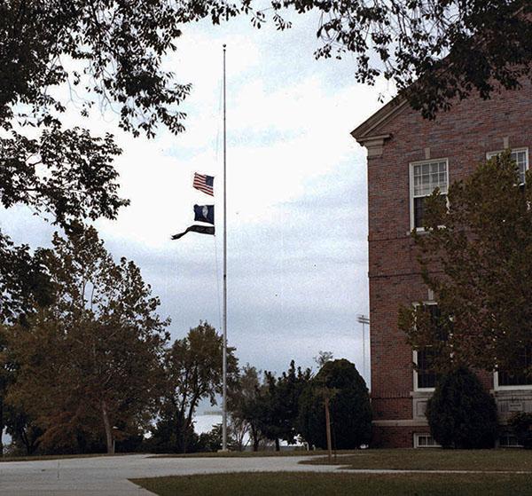 Lowered flags at WSU following football team plane crash