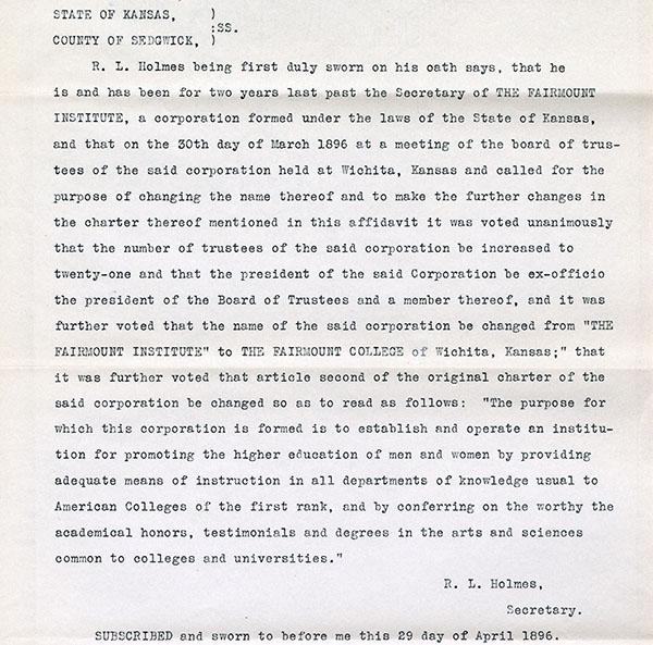 Typed document of the handwritten one above 1896