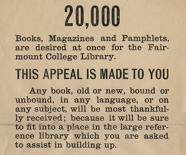 Handbill soliciting donations for the Fairmount college Library 1896