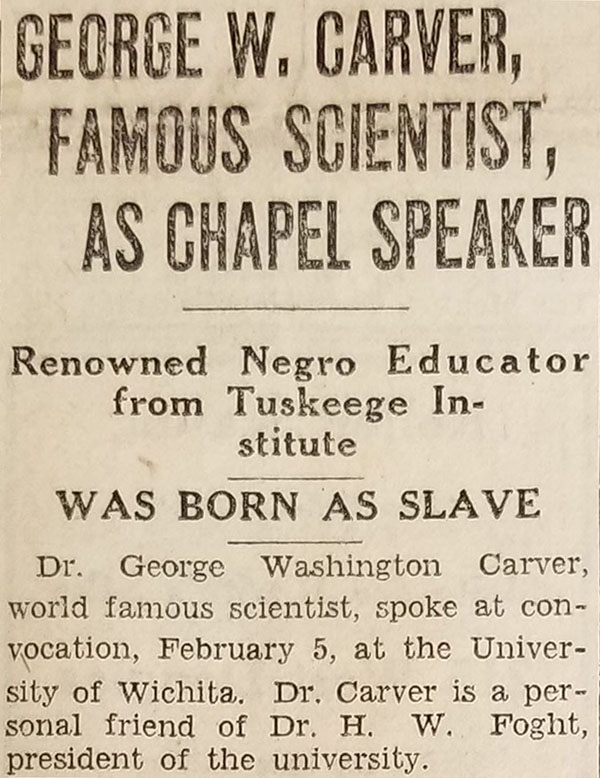 Newspaper clipping from when George Washington Carver addressed WSU 1930