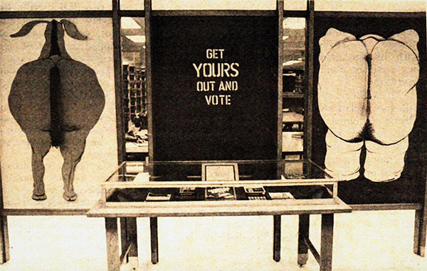 Display at Ablah library encouraging students to vote, 1976