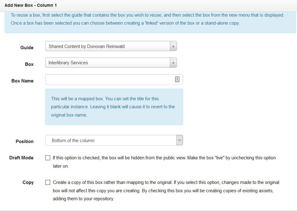 Screenshot of Adding Box showing the option of Reusing Boxes