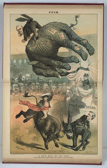 Political caricature titled, A new bull in the ring / F. Graetz. 1882