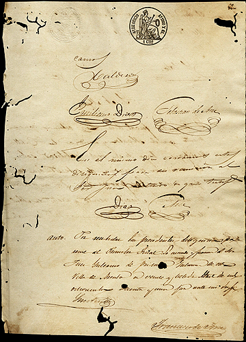 Image of a 19th century court case document from Puerto Rico describing a lawsuit between neighbors in the town of Arecibo.