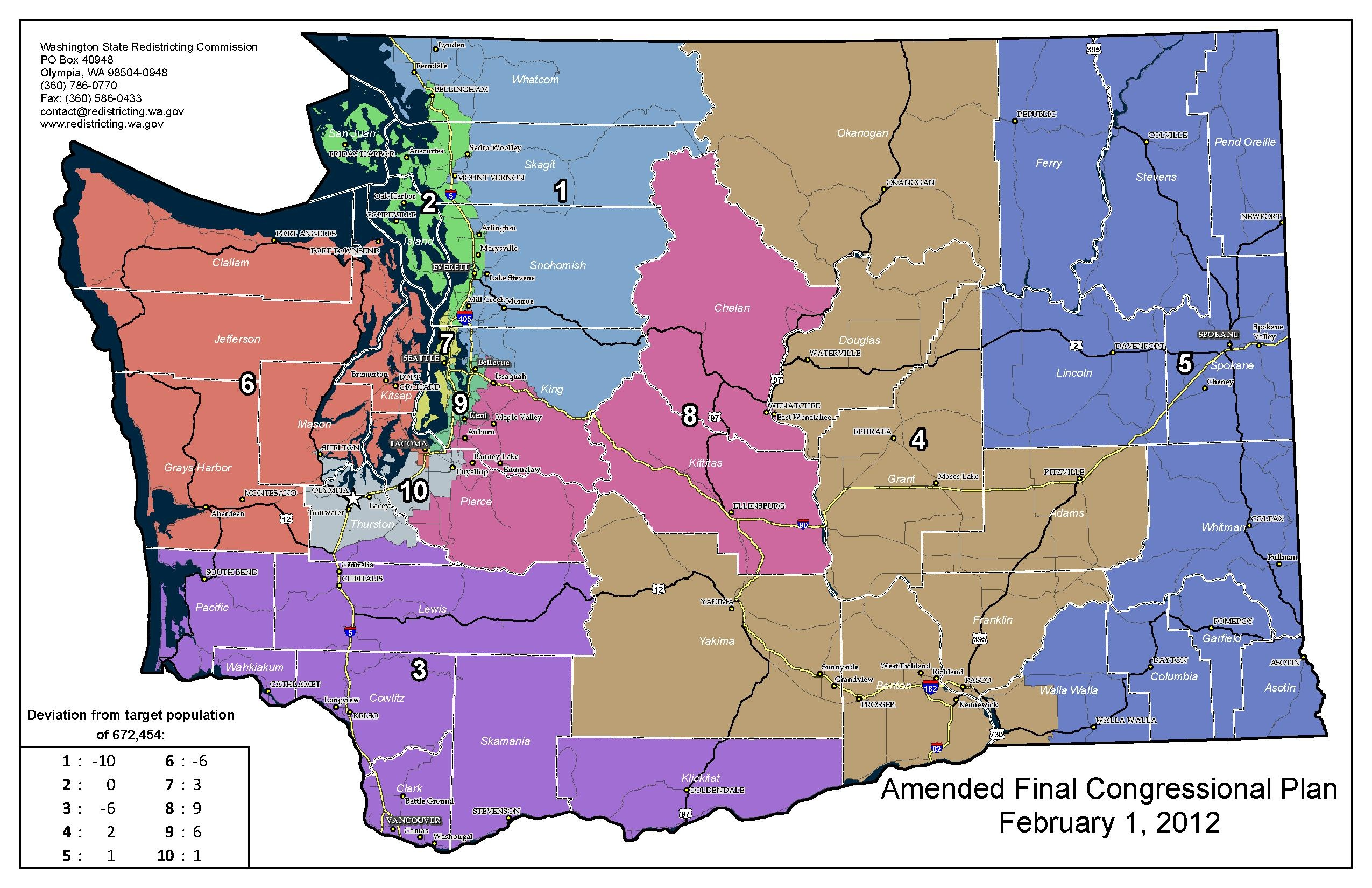 2012 Map of WA Congressional Districts