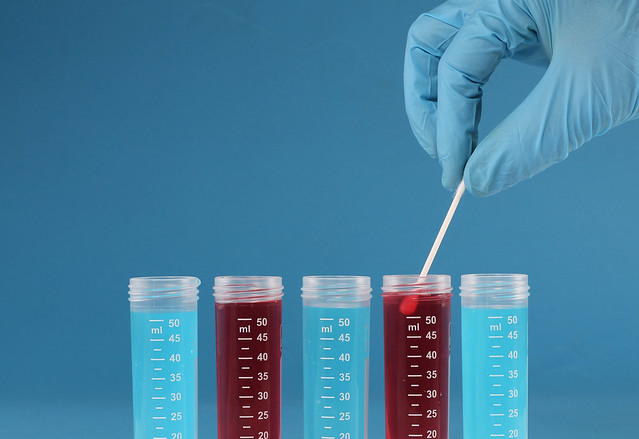 Lab technician testing samples