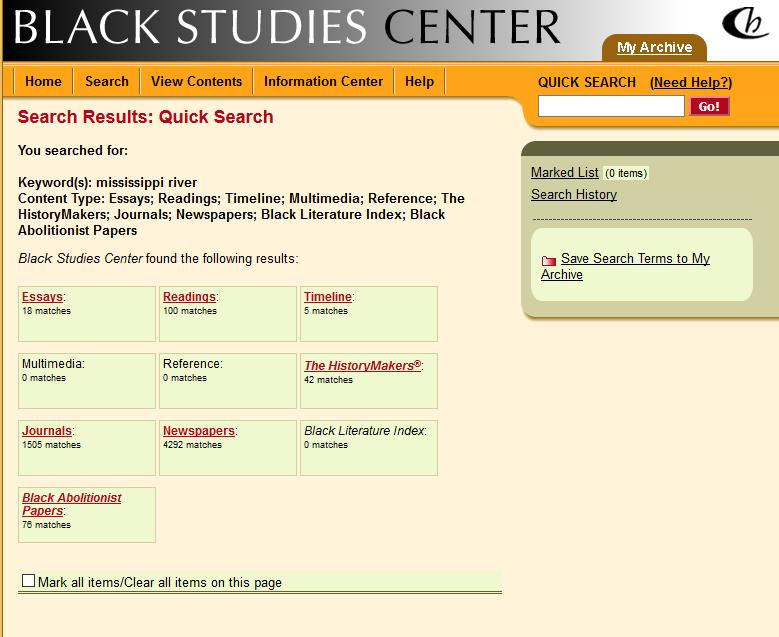 Sample Search in Black Studies Center