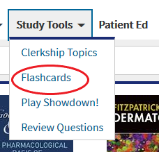 Screenshot of Flashcard option in study tool drop down menu in the Access Medicine database