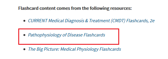 Screenshot of the pathophysiology of disease flashcards option in the Access Medicine database