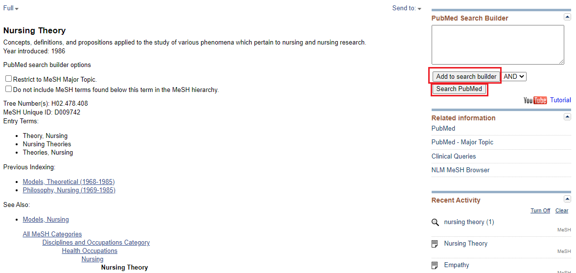 Screenshot of the add to search builder and search PubMed buttons in a MeSH search