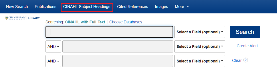 CINAHL Headings in top navigation menu of the CINAHL with Full Text database