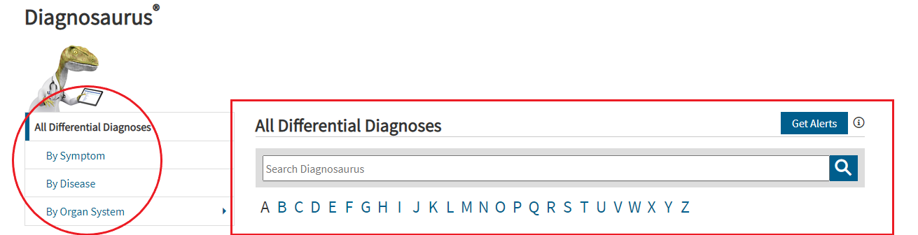 Screenshot of different search options in the Diagnosaurus resource.