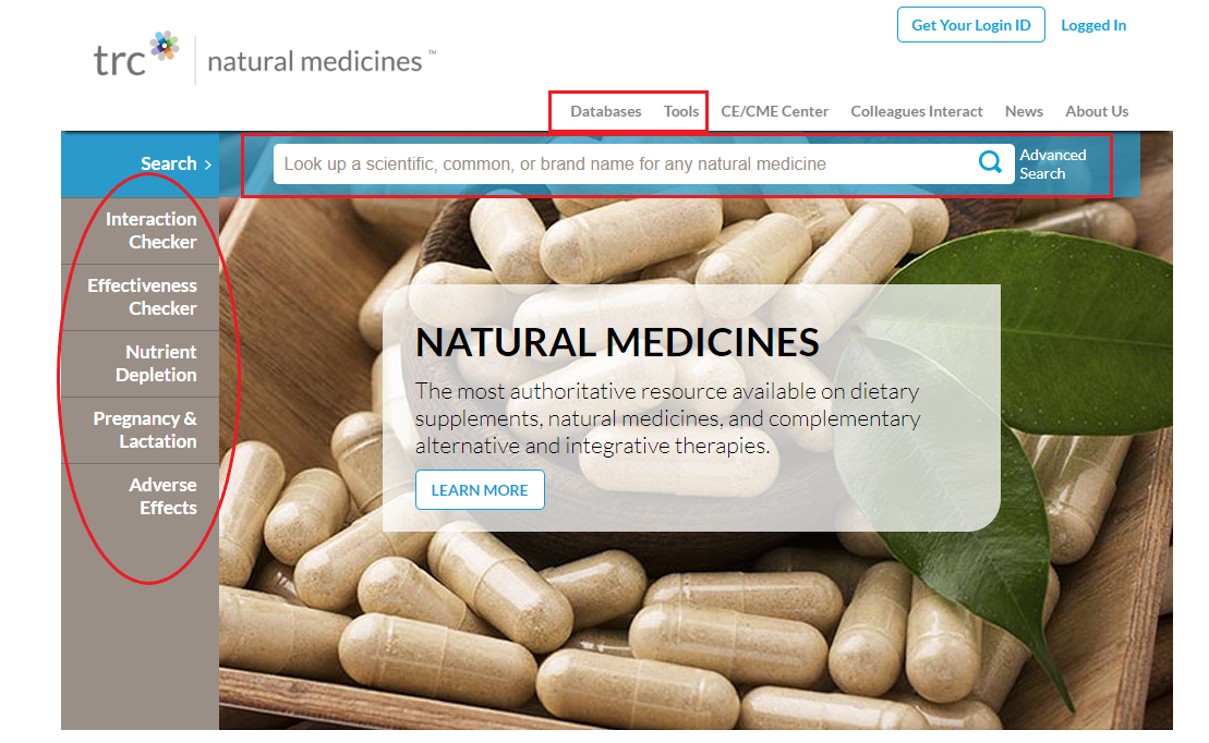 Search options from Natural Medicines homepage.